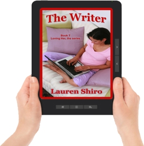 The Writer ereader graphic w hands