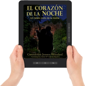 Heart of Night ereader with hands Spanish F