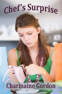 A young woman sitting in a cafe looking sadly into her purse